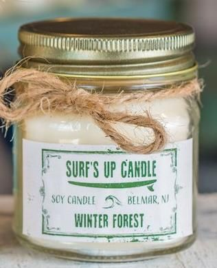 BOUGIE  SURF S UP CANDLE MASON JAR WINTER FOREST 225 GR